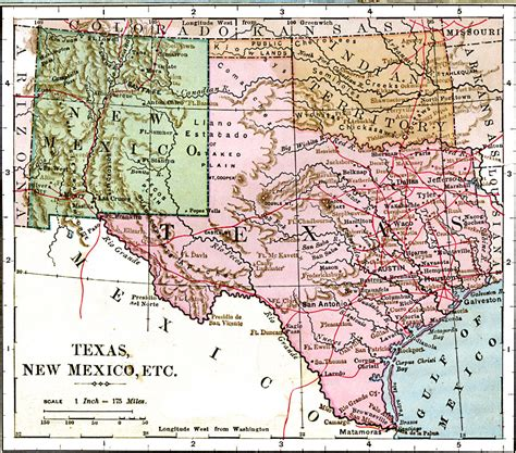 road map of new mexico and texas texas new mexico and indian territory