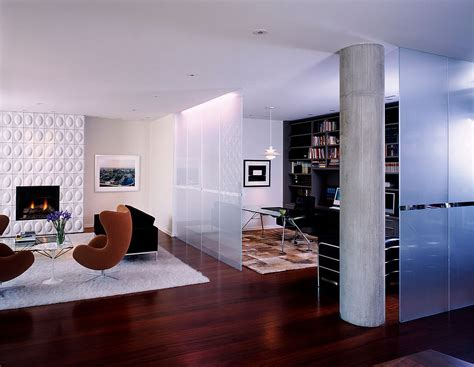 Modern Room Divider Frosted Glass Room Divider Separates The Modern Living Room From The Beautiful Home Office Decoist