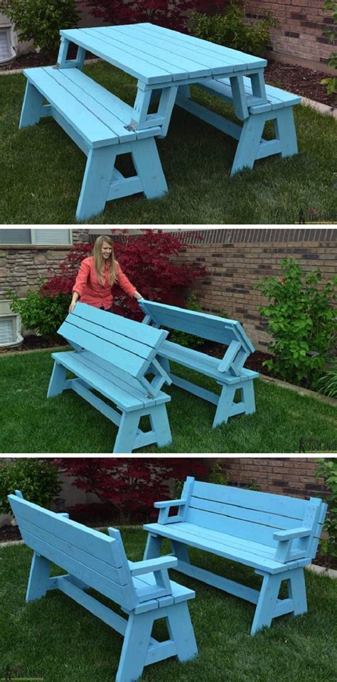 picnic table turns into bench 14 awesome diy backyard ideas to finalize your outdoors