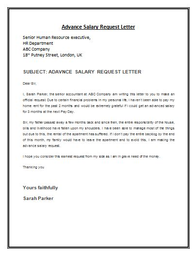 request letter for company representative advance salary request letter template is a formal letter