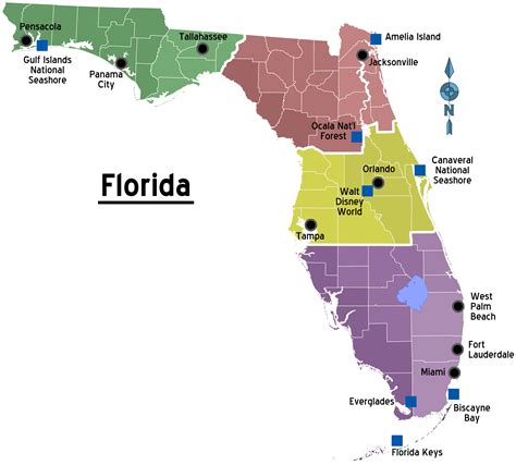 map of florida with cities file map of florida regions with cities png wikitravel shared