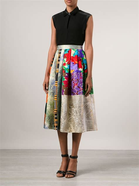 Topshop Patchwork Dress - duro olowu pleated patchwork skirt in multicolor