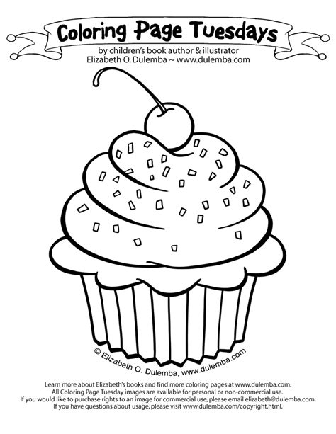 Large Cupcake Coloring Page | free sweet cup cake coloring pages