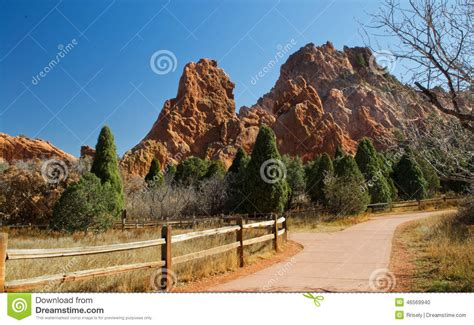 Garden Of The Gods Difficulty Fork In The Trail Stock Photo Image 46569940