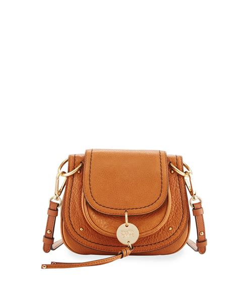 chloe small leather flap saddle bag  brown lyst