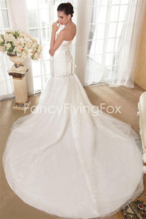 Ivory Shallow Sweetheart Trumpet Fishtail Mermaid Wedding Gowns Corset Back at fancyflyingfox.com