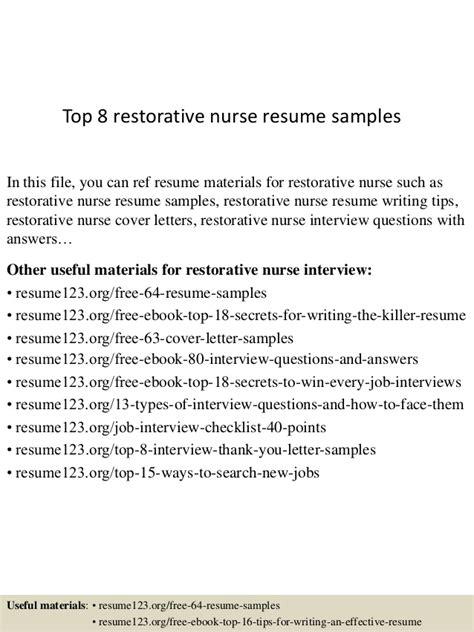 Restorative Cover Letter by Top 8 Restorative Resume Sles