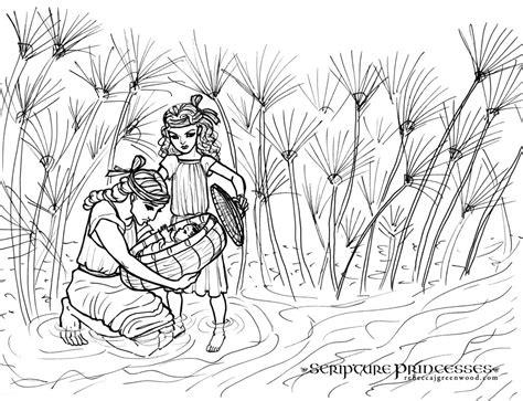 baby moses coloring page miriam and baby moses coloring page penelusuran