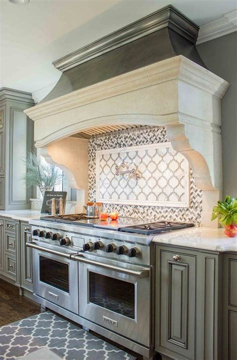 Gray French Kitchen with Gray Herringbone Cooktop Backsplash Tiles Transitional Kitchen