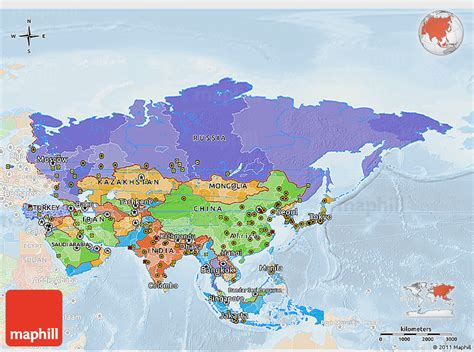 political  map  asia lighten