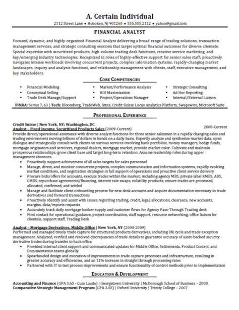Financial Analyst Resume Exles by Financial Analyst Resume Best Template Collection
