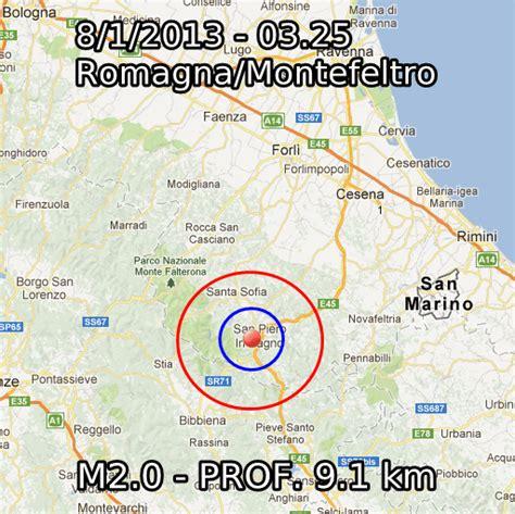 previsioni tempo bagno di romagna terremoto oggi 8 gennaio 2013 lieve scossa in emilia