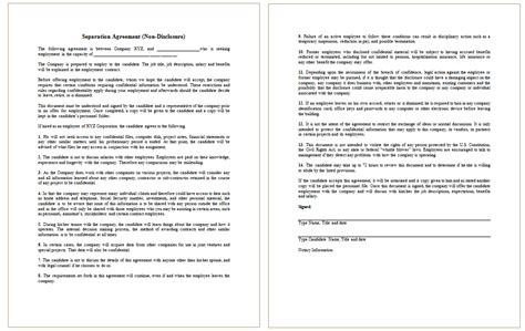 employee non disclosure agreement template non disclosure agreement template for employee dotxes
