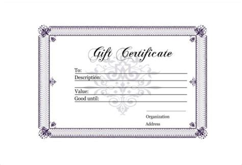 Gift Card Templates Free Pdf by 30 Blank Gift Certificate Templates Doc Pdf Free