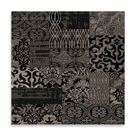 Damask Bath Rug Linon Home Damask Rug In Black Bed Bath Beyond