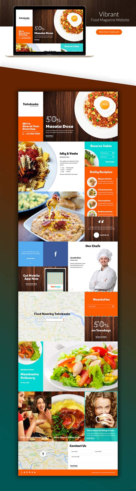 food template psd vibrant food magazine website template free psd web