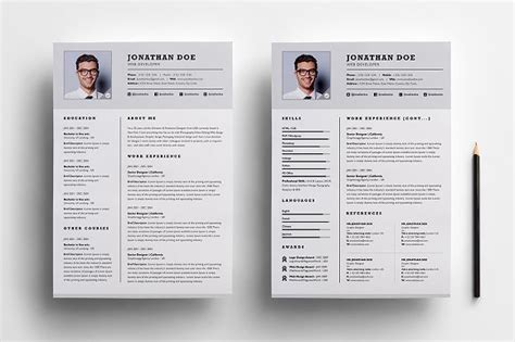 Professional Two Page Resume Set Resume Templates Creative Market 2 Page Cv Template