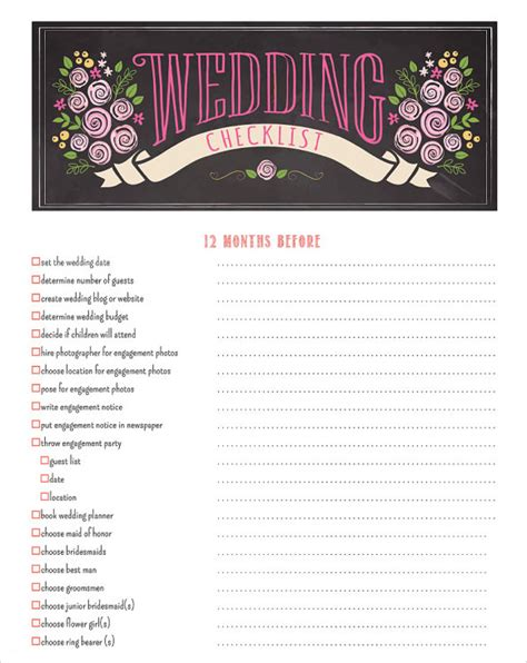 7 Wedding Planning Checklist Sles Sle Templates Wedding Planning Template Printable