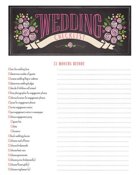 Sample Wedding Planning Checklist   6  Example, Format