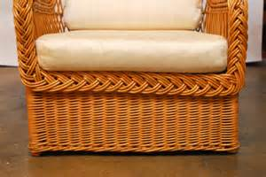 rattan armchair and ottoman pair of italian wicker rattan lounge chairs and ottoman