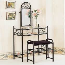 Makeup Vanity Mirror Set Coaster Frosted Black Wrought Iron Makeup Vanity Table Set