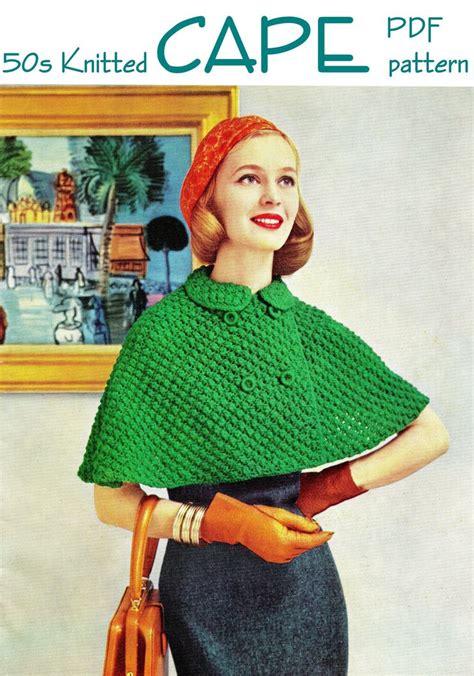 vintage geometric pattern knitting cape vintage 50 s knit cape pdf pattern instant download