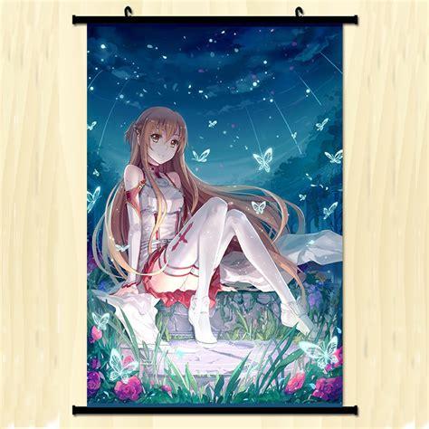 sword wall poster scroll home wall scroll anime poster sword yuuki asuna home decor 40 60cm ebay