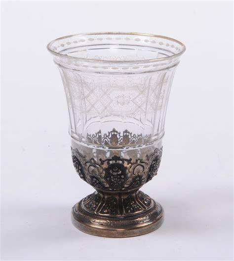 bicchieri argento bicchiere in vetro molato con montatura in argento
