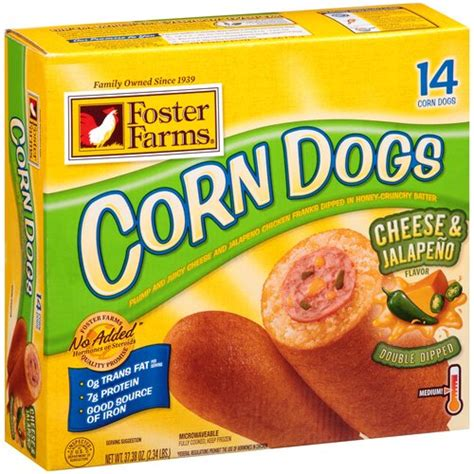 foster farms corn dogs foster farms cheese jalapeno flavor corn dogs 14 count 37 38 oz deli walmart