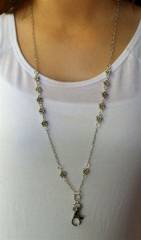 dainty silver flower lanyard necklace