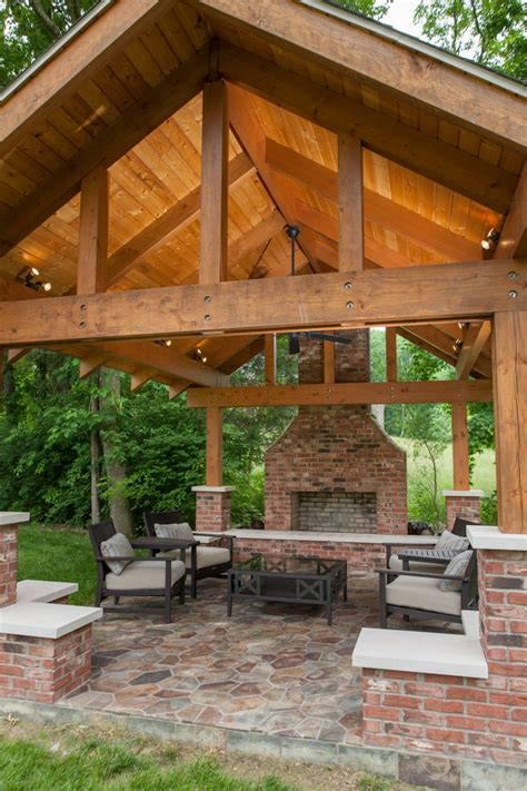 Backyard Pavilion Plans Ideas Outdoor Pavilion Wood Burning Fireplace Dream Home