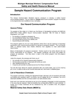 hazard communication program template hazard communication program template template s