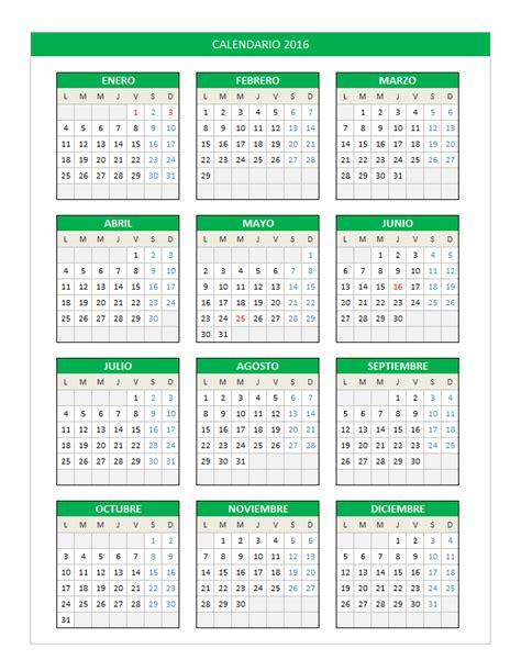 calendario anual 2016 excel calendar template 2017