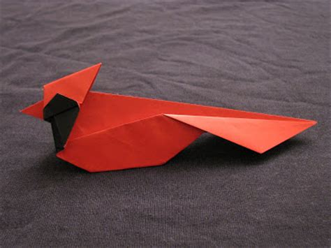 Origami Cardinal - boston origami northern cardinal