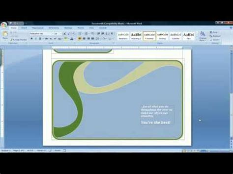 how to make a card on microsoft word 2007 how to make a card using microsoft word 2007