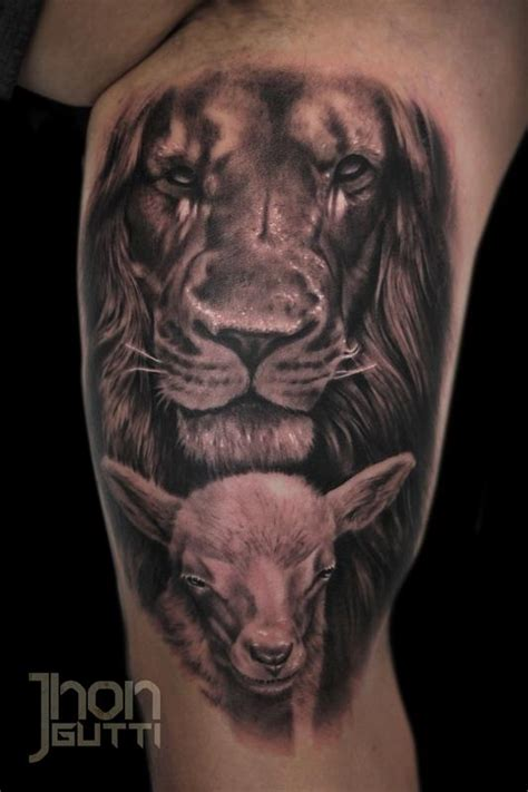 lion and lamb by jhon gutti tattoonow