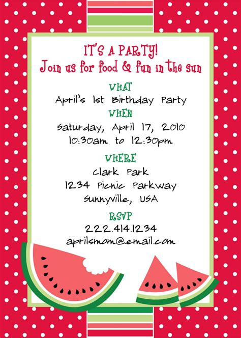 Printable Watermelon Themed Party Invitation Themed Invitations Free Templates