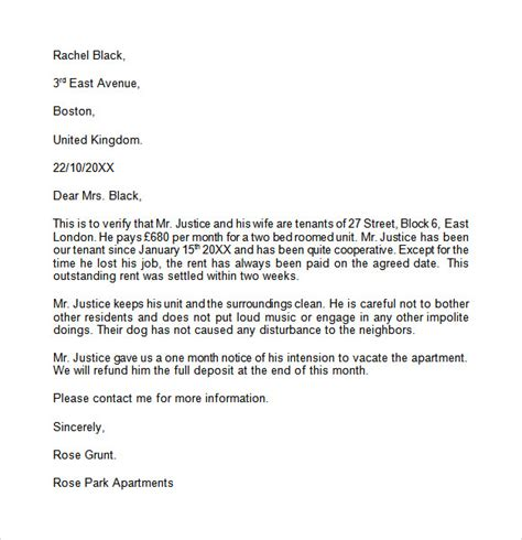 Reference Letter For Apartment From Employer landlord reference letter template 8 free