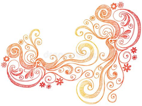 free vector doodle swirls flowers and swirls doodle vector border stock image