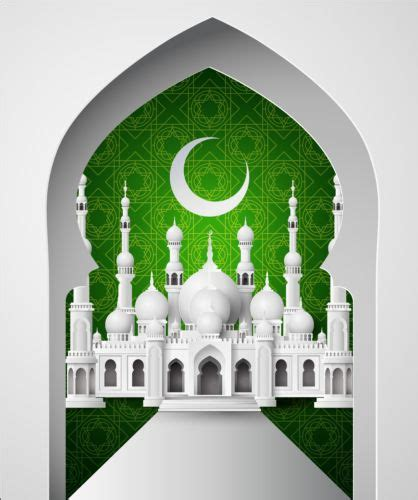 green  white mosque background vector