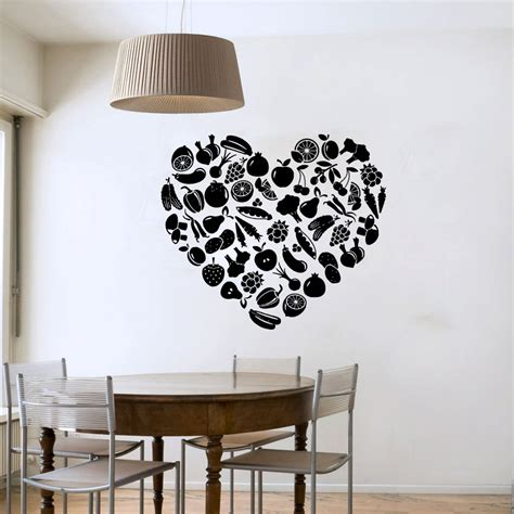 vinyl decals for home decor heart shaped fruit and vegetable wall sticker diy