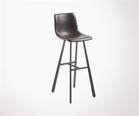 Tabouret De Bar Design Cuir by Tabouret Bar Design Industriel Assise Simili Cuir Marron Fonc 233