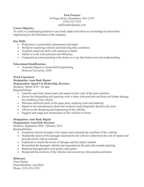 Automotive Collision Repair Sle Resume by Auto Mechanic Resume Vehicles Car 28 Images Personal Vehicle Advisor Resume Sle My Resume
