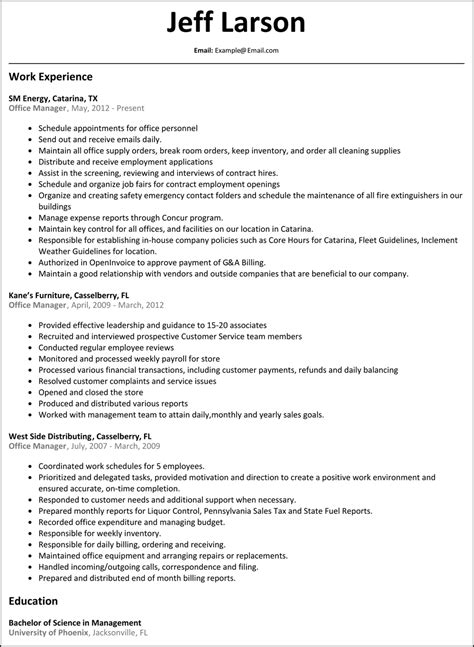 sle of office manager resume office manager resume resumesles net