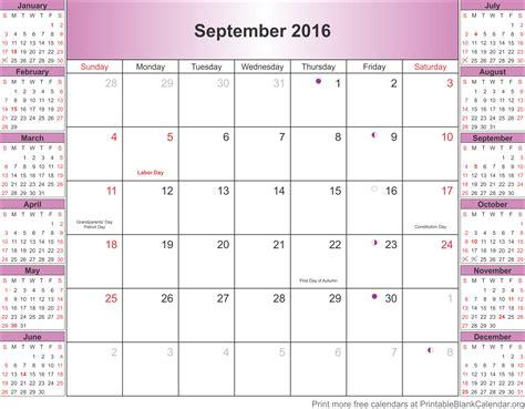 blank calendar september 2016 september 2016 blank calendar template printable blank