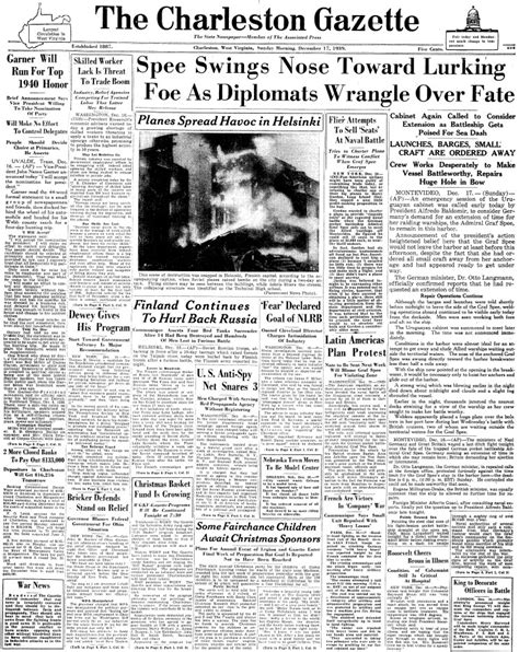 the charleston gazette maritimequest admiral graf spee front pages page 6