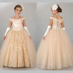 Girls Dresses For Weddings Vintage Champagne Pageant Dresses For Girls 2016 Off Shoulder Ball Gown Flower Dresses For