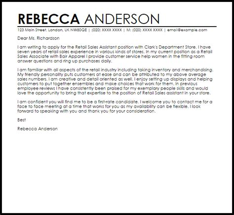 retail sales assistant cover letter sample cover letter