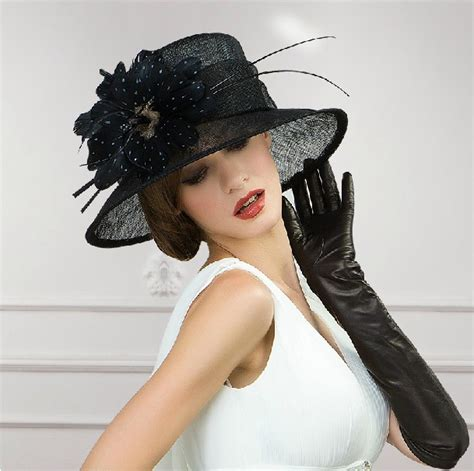 wholesale wide brim fancy sinamay black church dress hats
