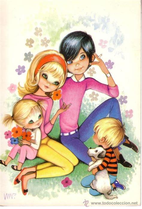 imagenes de unos niños bonita postal con dibujos de unos ni 241 os en fami comprar